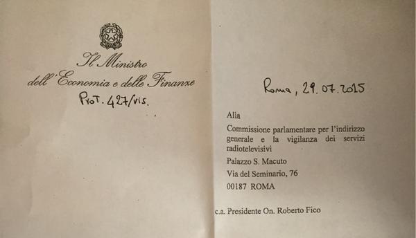 Riforma RAI rinviata, rinnovare Cda con legge Gasparri. Padoan scrive a commissione di vigilanza