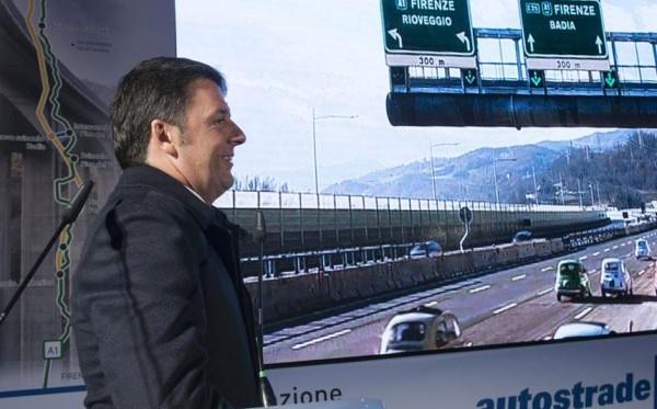 """Renzi inaugura la variante di valico Firenze-Roma: """"Grande emozione, non ci credeva più nessuno"""""""